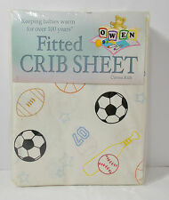 Owen Fitted Standard Crib Sheet White w/Sports Balls Basketball Football Soccor