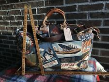VINTAGE USA 1980's TRAVEL STICKER CANVAS & LEATHER CARRY-ON DUFFEL GYM BAG R$845