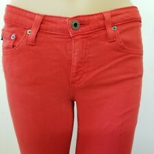 AG ADRIANO GOLDSCHMIED The Stevie Ankle Slim Straight Leg Pants Red 26R Skinny