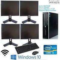 Cheap Fast Full Set HP Elite Desktop i5 16GB 1TB Multi Monitor PC Windows 10 Pro