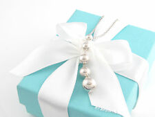 Authentic Rare Tiffany & Co Silver Graduated Bead Dangle Necklace Box Included