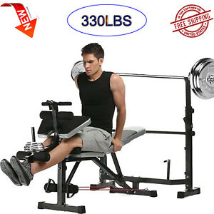 ANCHEER Adjustable Olympic Weight Bench Lifting Press Gym Equipment Exercise for Outdoor Indoor Exercise Professional Incline Flat Weight Bench with Preacher Curl /& Leg Developer