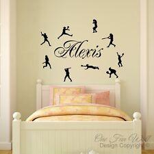Personalized Name & 9 Girl's Softball Baseball Players Vinyl Wall Decal Sticker