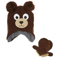 BEAR HAT & MITTENS SET 78% acrylic 19% polyester 2% rubber Multi-Color & S & S