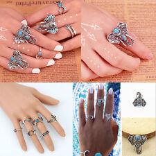 Wholesale Retro Silver Arrow Turquoise Moon Elephant Midi Finger Knuckle Rings