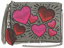 MARY FRANCES Heart Throb Beaded Zip Top Wristlet Pink Red Lips Bag Handbag New