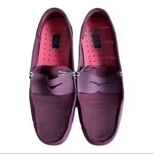 SWIMS Men Burgundy Penny Loafer Slides Slip on Rubber Soled Boat Shoes Size 9