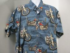 Clearwater Outfitters Hawaiian Style Shirt, Blue with M/C & Route 66, S/S, XXL