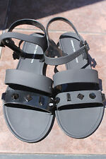 French Connection sandals Womens solid black studds Jellies Size 40 us 9 shoes