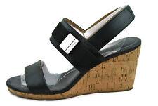 Calvin Klein Women's Brandie Smooth/Elastic Wedge Heels Sandal,Blk, 8.5M,0554