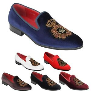Mens Velvet Loafer Bee Crown Embroidery Smart Party Dress Shoes Slip on Slippers