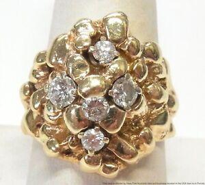 Massive 14k Gold 1.15ctw Fine Diamond Mens Ring 23.3gr Midcentury Nugget Sz 11.5