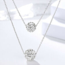 Doppel Halskette Shamballa Kugel echt Sterling Silber 925 Damen Collier Kristall