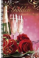 On Your Golden Wedding Anniversary 50th Champagne & Roses Design Greeting Card
