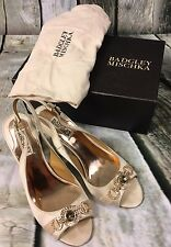 Badgley Mischka 8 M Xulia Ivory Satin Open Toe Slingback Heels Wedding Authentic