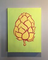 """Agnis"" Original Acrylic Painting hops on Canvas Pop Art 16""x 12"""