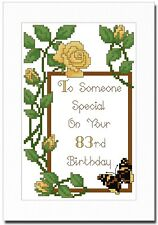 HAPPY BIRTHDAY YELLOW ROSES - ANY AGE - CROSS STITCH CARD KIT