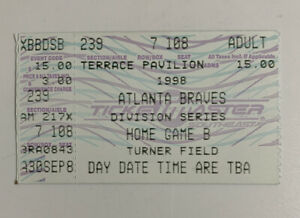 Atlanta Braves v Chicago Cubs 1998 Ticket Stub Playoff Game 2 10/1/98