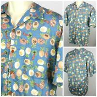"Reyn Spooner Hawaiian Made Luau Shirt Pineapples Palm Trees Lg? 23.5"" Pit2Pit"