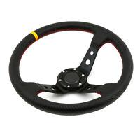 350mm Deep Dish 6 Bolt Steering Wheel JDM Racing Track Drift Carbon Fabric