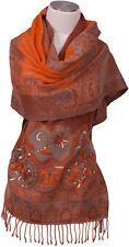 Schal 100% Wolle Grau Orange handbestickt Pailletten scarf wool  embroidered