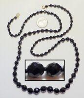 "Elegant Classy Vintage Black Faceted Crystal Graduated Bead Strand Necklace 36"""