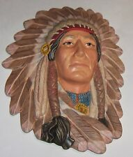Large Ceramic Naitave American Ceramic Head (head dress) Hand Painted Wall Hang