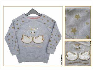 Baby Girls Grey Sweatshirt Cute Fur Swans & Gold Stars Cotton Jumper 0-36 Months