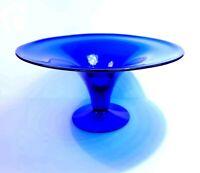 "XLG Blenko 9411 cobalt blue centerpiece bowl pedestal base. 14"" EUC HTF"
