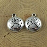 Antiqued Silver Alloy Cute Bear Paw Print Pendant Charms Jewelry 51663 38pcs