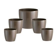5 x Übertopf Madeira rund 5er Set braun Blumentopf Vase Pflanztopf