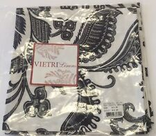 "Vietri Set of 4 Cocktail Napkins Black White Paisley 100% Cotton Cloth 8"" X 8"""