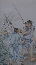 ANTIQUE 19C KOREAN  WATERCOLOR ON PAPER PAINTING OF 2 FISHERMEN NEAR BAMBOO