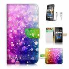 HTC Desire 310 Flip Wallet Case Cover P2405 Abstract Raindrop