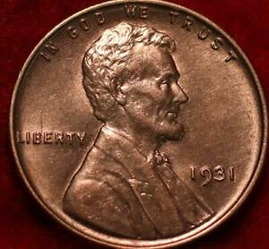 Uncirculated Red 1931 Philadelphia Mint Copper Lincoln Wheat Cent