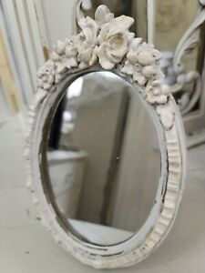 Vintage French Composite Barbola Oval Mirror with Roses and Ribbons