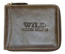 Men's brown zip-around genuine leather wallet Wild. Worldwide Shipping.