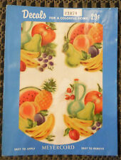 Vintage Meyercord Decals X107A Fruit Pears Bananas Melon Kitchen - 4 Decals