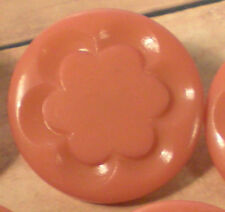"""P109/   10 PLASTIC PINK CARVED METAL SHANK BUTTON 1 1/16"""" NOS QUANTITY DISCOUNT"""