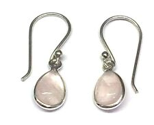 Handmade in 925 Sterling Silver, Real Rose Quartz Teardrop Drop Earrings & Bag