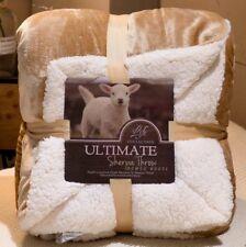 Beige King Size Peluche Sherpa Fannel Couverture Polaire Doux Luxueux Sofa Lit