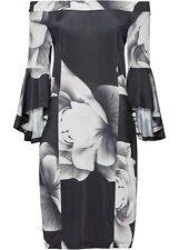 Carmen-Kleid m Volantärmeln Gr. 48/50 Schwarz Weiß Mini-Abend-Cocktailkleid Neu*