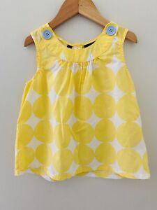 Mini Boden Girls size 7-8 yellow polk a dot tank top