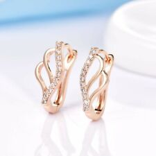 Gold Hoop Earrings For Women Unique Design Dazzling White Sapphire Crystal