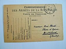 France November 1918 Military Card To Montbeliard