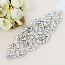 New Sliver Rhinestone and Pearl Beaded Applique for Bridal Sash Wedding Headband