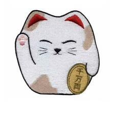 "CUTE MANEKI NEKO IRON ON PATCH 2.4"" Embroidered Applique Lucky Fortune Money Cat"