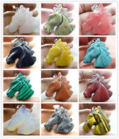 Promotion Hand-carved horse's head Mixed agate PENDANT GEMSTONE bead necklace B4