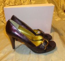 BANDOLINO QUARTEZ WINE OPEN TOE PLATFORM PATENT LEATHER HIGHHEEL SHOES SIZE 8.5M