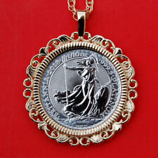 2018 Great Britain 1/10 oz Platinum Britannia BU Coin 14K Gold Necklace NEW